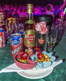 Food and drinks served at Tropicana musical show in Cuba stock photography