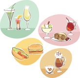 Food and Drinks set stock illustration