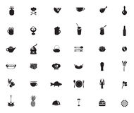 Food and drinks. Set of black and white icons on the theme of food and drinks Stock Images