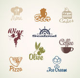 Food and drinks. Set of characters on the theme of food and drinks Royalty Free Stock Photography