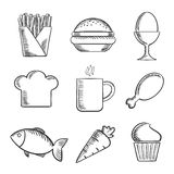 Food and drinks sketched icons set. Food sketched icons set with French fries, boiled egg, toque, cookie, coffee, drumstick, fish, carrot and cupcake Stock Image