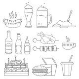 Food and drinks sketches Royalty Free Stock Image