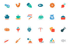 Food and Drinks Vector Colored Icons 7 Stock Image