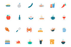 Food and Drinks Vector Colored Icons 15 Royalty Free Stock Images