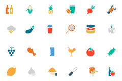 Food and Drinks Vector Colored Icons 16 Royalty Free Stock Photos