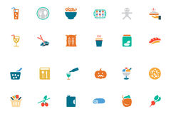 Food and Drinks Vector Colored Icons 19 Stock Images