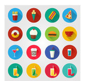 Food and drinks vector icons. Flat icons for web and mobile applications with food and beverages. Trendy flat design with long shadow. Set of icons with food Royalty Free Stock Images