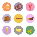 Food and Drinks Vector Illustration on White. Food and alcoholic drinks vector illustration on white background such as sausages, crayfish and fish, beer and Stock Photos