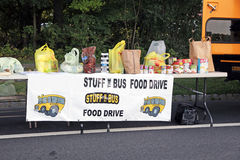 Food Drive. Stuff the Bus is a food drive where  residents attempt to fill a school bus with food for the needy Stock Images