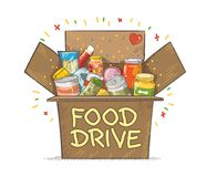 Food Drive charity movement logo vector illustration. With a cardboard box royalty free illustration