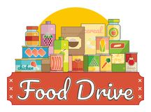 Food Drive charity movement logo vector illustration. With non perishable foods stock illustration