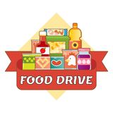 Food Drive charity movement logo vector illustration. With red ribbon Stock Image