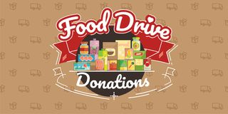 Food Drive charity movement, vector illustration. Food Drive non perishable food charity movement, vector badge logo illustration royalty free illustration