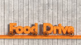Food drive letters on wheels charity concept Stock Photo