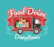 Food Drive charity movement, vector illustration. Food Drive non perishable food charity movement, vector badge logo illustration stock illustration
