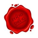 Food and Drug Administration röd vaxskyddsremsa med text som isoleras på vit bakgrund Royaltyfria Bilder