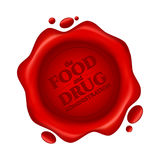 Food and Drug Administration red wax seal with text isolated on white background Royalty Free Stock Images