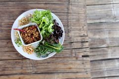 Food on dry bamboo table Stock Photography