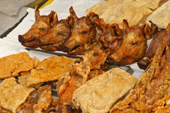 Food in Ecuador. Pig heads at a market in Quito, Ecuador Stock Photography