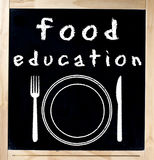 Food Education on Chalkboard. Food education title handwritten and symbolic drawing with white chalk on blackboard with wooden square frame isolated over white Royalty Free Stock Image
