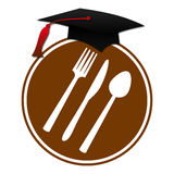 Food Education. Spoon, fork and knife symbol in a brown circle with hat over it stock illustration