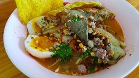 Food. Egg noodle soup pork Stock Image