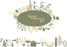 Food elements composition. Vector composition with food elements perfect for card restaurant Stock Photo