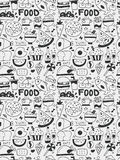 Food elements doodles hand drawn line icon, eps10 Royalty Free Stock Image