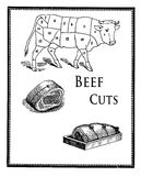 Food engraving,beef cuts and meat preparation. Collage of engravings describing the butcher beef cuts and the art of preparing meat to roast Stock Images