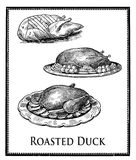 Food engraving collage, duck cuts and food presentation Royalty Free Stock Photography