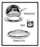 Food engraving collage, whipped French omelette preparation Stock Image