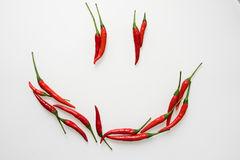 Food face. Shot of smiling face using red chillies on white background Royalty Free Stock Photo