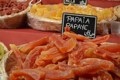 Food in a fair in autumn. Some products you can find in my city in autumn papaya stock photography
