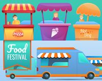 Food festival banner set, cartoon style royalty free illustration