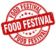 Food festival red grunge round  stamp Stock Images