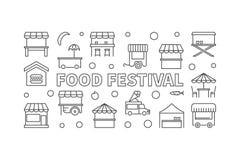 Food festival vector illustration. Street food concept banner. Food festival vector linear horizontal illustration. Street food concept banner in thin line style Stock Photos