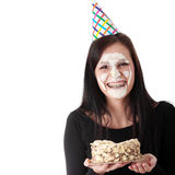 Food fight - funny portrait Royalty Free Stock Photography