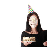 Food fight - funny portrait Royalty Free Stock Image