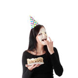 Food fight - funny portrait Royalty Free Stock Images