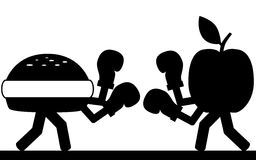 Food fight. Vector / illustration.Fight between a hamburger and a apple Stock Photography