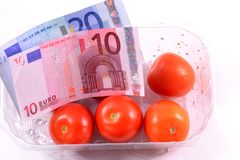 Food and Finance. Money for food, or speculating with food Stock Images