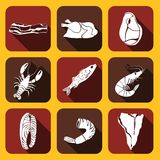 Food Fish and Meat Icons Royalty Free Stock Images