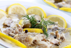 Food fish in oil. An appetizing food fish in oil adorned with lemons Royalty Free Stock Image