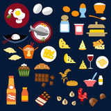 Food, fish, snacks and drinks flat icons. Food and drinks flat icons of bread and butter, cheese and wine, porridge and fish, chinese food, dairy cupcake stock illustration