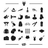 Food, fitness, spices and other web icon in black style.sports, travel, crime, art icons in set collection. Stock Images