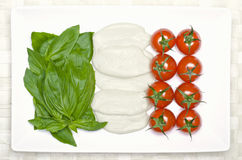 Food flag of Italy. Flag of italy with basil, mozzarella and tomatoes Stock Image