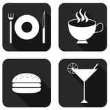 Food flat icons. With long shadow stock illustration