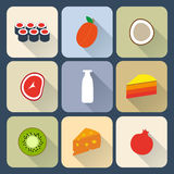Food flat icons Royalty Free Stock Images