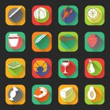 Food Flat Icons Stock Photos