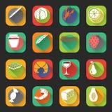 Food Flat Icons Stock Photos